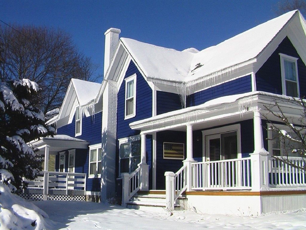 White Wood Paint Exterior Part - 28: Breathtaking Exterior Simple House Decoration With Blue White Paint Color  Along With Wood Front Porch Railing