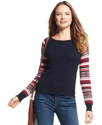 Tommy Hilfiger Long-Sleeve Fair-Isle Colorblock Sweater - Sweaters ...