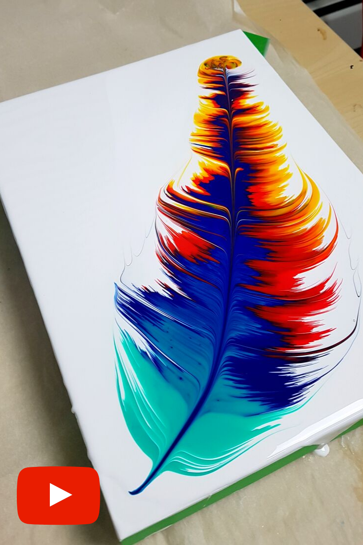 Acrylic Pouring Feather - Fluid Painting with Arti