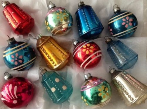 12 Rare Box Antique Vtg 1939 Corning Glass Xmas Ornaments Painted