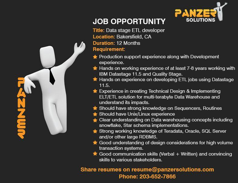 Job Title Data stage ETL developer Location Bakersfield