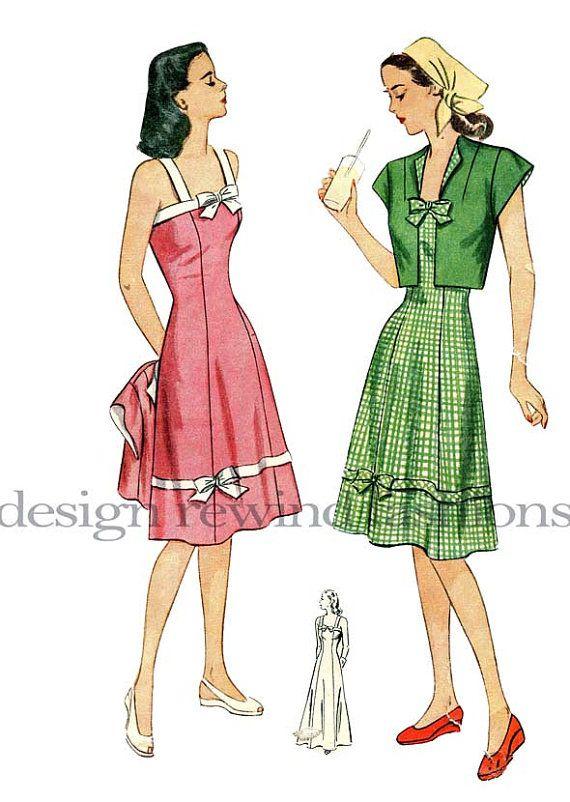 1940s SUNDRESS Maxi DRESS & Bolero Pattern Cropped Jacket Fitted ...