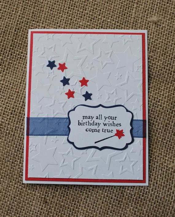 Handmade greeting card redwhite blue birthday stars childrens choose from one of 20 greetings pictured in the greeting photo matching embossed envelope included packaged in a clear cellophane m4hsunfo