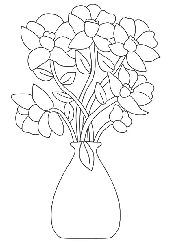 Vase Of Flowers For Coloring Flower Coloring Sheets Flower Coloring Pages Printable Flower Coloring Pages