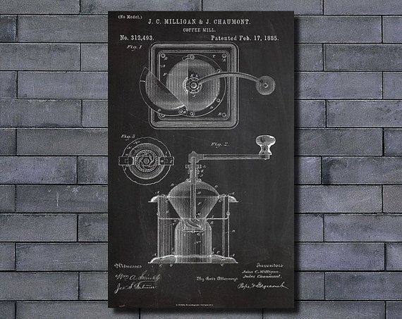 Coffee mill patent poster art print home decor blueprint wall art coffee mill patent poster art print home decor blueprint wall art poster illustration canvas art prints malvernweather Gallery