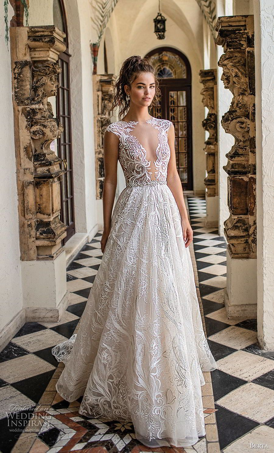 berta spring 2019 bridal cap sleeves deep plunging v neck full  embellishment romantic glamorous a line wedding dress sheer button back  chapel train (4) mv ... 52e36c2ff