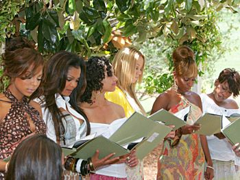 "Ashanti, Janet Jackson, Alicia Keys, Mariah Carey, Mary J. Blige and Missy Elliott read Pearl Cleage's poem, ""We Speak Your Names,"" to the Legends."