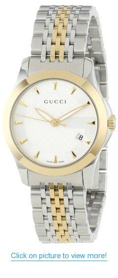 72efc4b425c Gucci Women s YA126511 Gucci timeless Steel and Yellow PVD Silver Dial Watch