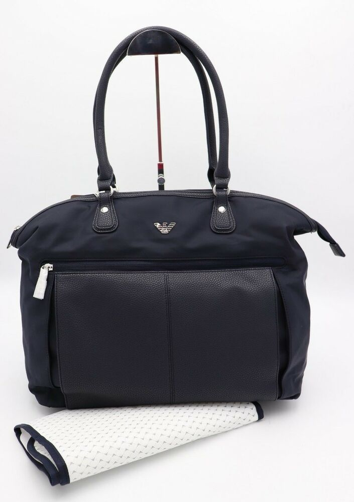 d6980b0de4a7 NWT Armani Junior Navy Blue Leather Nylon Diaper Changing Baby Bag Tote New   Armani  Tote