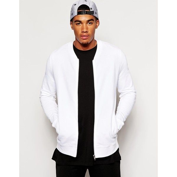 ASOS Bomber Jacket In Jersey ($34) ❤ liked on Polyvore featuring ...