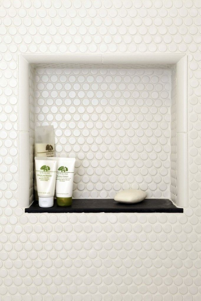 White penny tile as accent tile in niche and above vanity - Penny tile bathroom floor ...