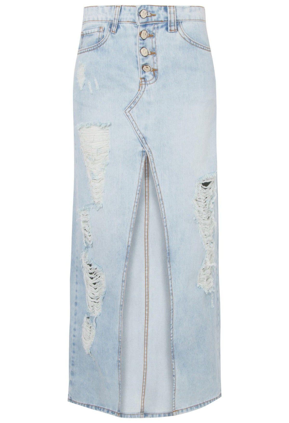 f40b4824e FARM - Saia longa jeans detonada fenda - OQVestir Mais