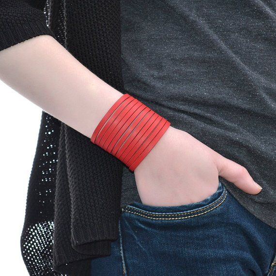 2d57d8a7e3bf8 Wide Leather Bracelet Red / Leather Band Bracelet, Leather Cuff ...