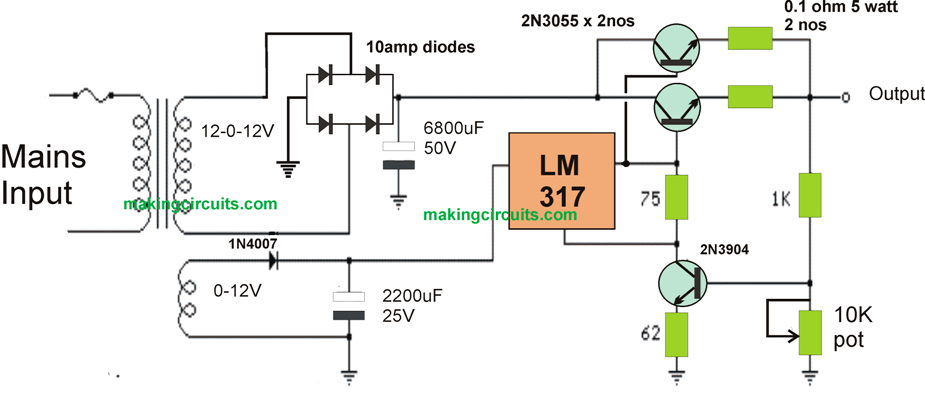The High Current Lm317 Power Supply Circuit Shown Down The Page Makes Use Of An Supplemental Winding Or Possib Power Supply Circuit Circuit Electronics Circuit