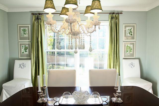 Benjamin Moore Gray Wisp 1570 Green Curtains Dining