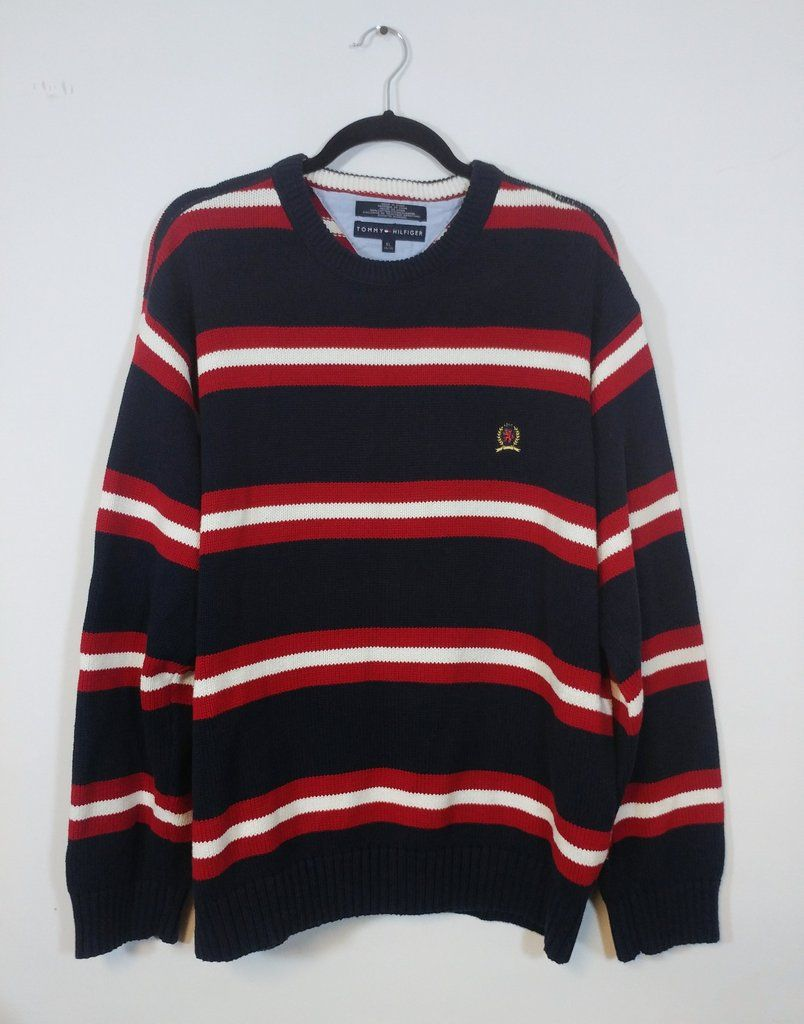 Vintage Tommy Hilfiger Knit Crewneck Long-sleeve Sweater - Men s XL ... b8e9f4babb