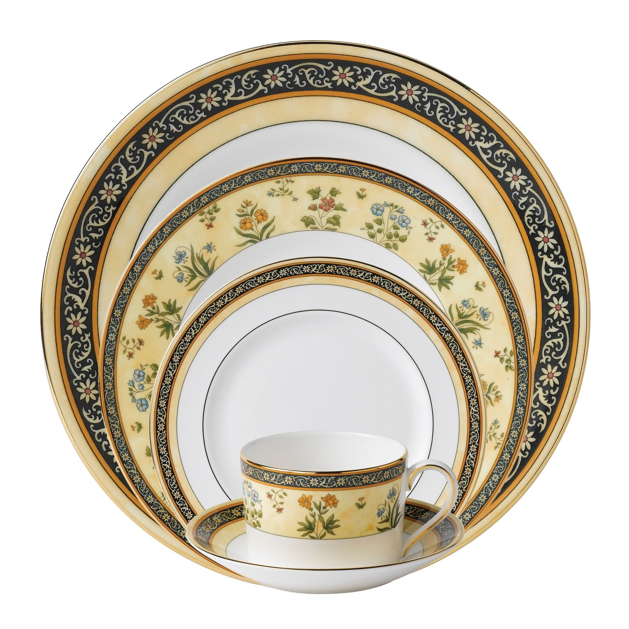 India Bone China 5 Piece Place Setting Service for 1
