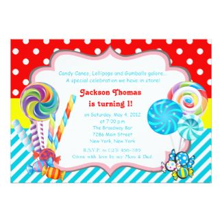 Candyland Party Invitations