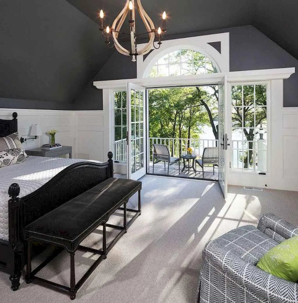 41 Modern Lake House Bedroom Ideas #graybedroomwithpopofcolor