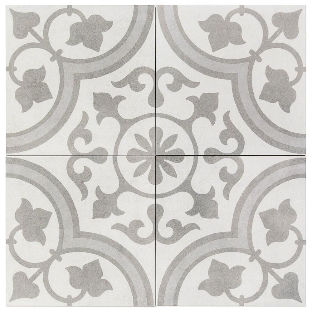Ivy Hill Tile Sintra Silver Ornate Encaustic 9 In X 9 In X 10mm