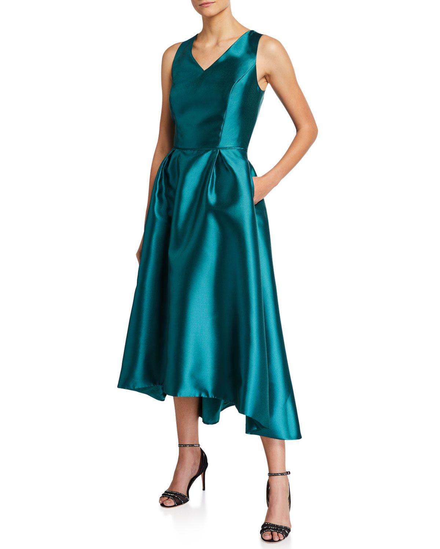 Tahari Asl High Low V Neck Cocktail Dress Tahariasl Cloth V Neck Cocktail Dress Dark Green Long Dress Long Green Dress [ 1500 x 1200 Pixel ]