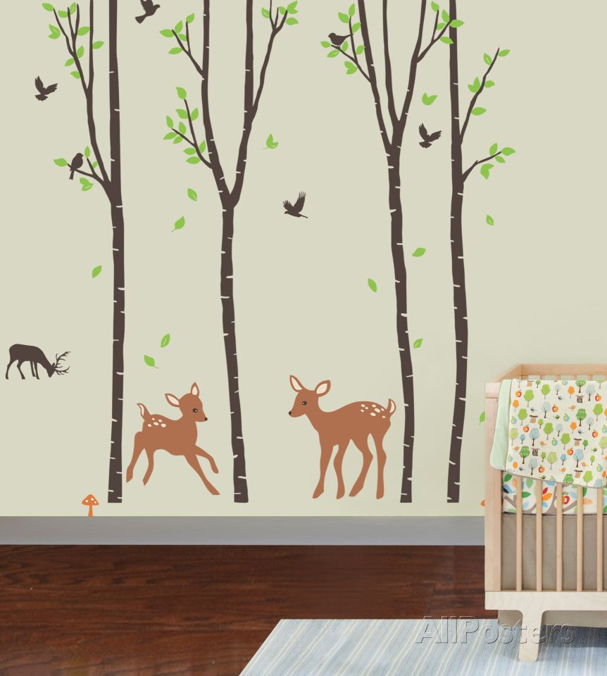 Tranquil Woodland Wall Decal Family Tree Wall Sticker Baby Room