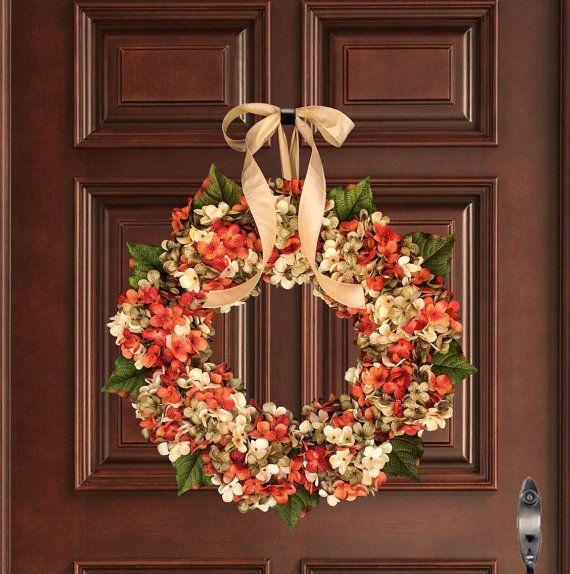 Front Door Wreaths Fall Decor Blended Hydrangea Wreath Orange Wreath Summer Wreaths Exquisite and Unique Door Wreath Porch Decor