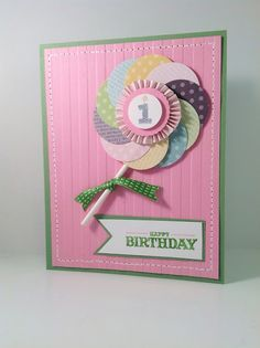 Stampin Up Baby Girl First Birthday Card