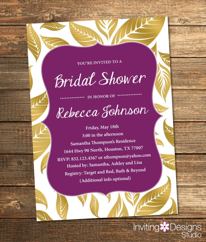 bridal shower invitations registry etiquette%0A Bridal Shower Invitation  Gold and Pink  Leaves  Fall  Gold  Purple  White   Elegant  Chic  PRINTABLE FILE  by InvitingDesignStudio on Etsy   Pinterest