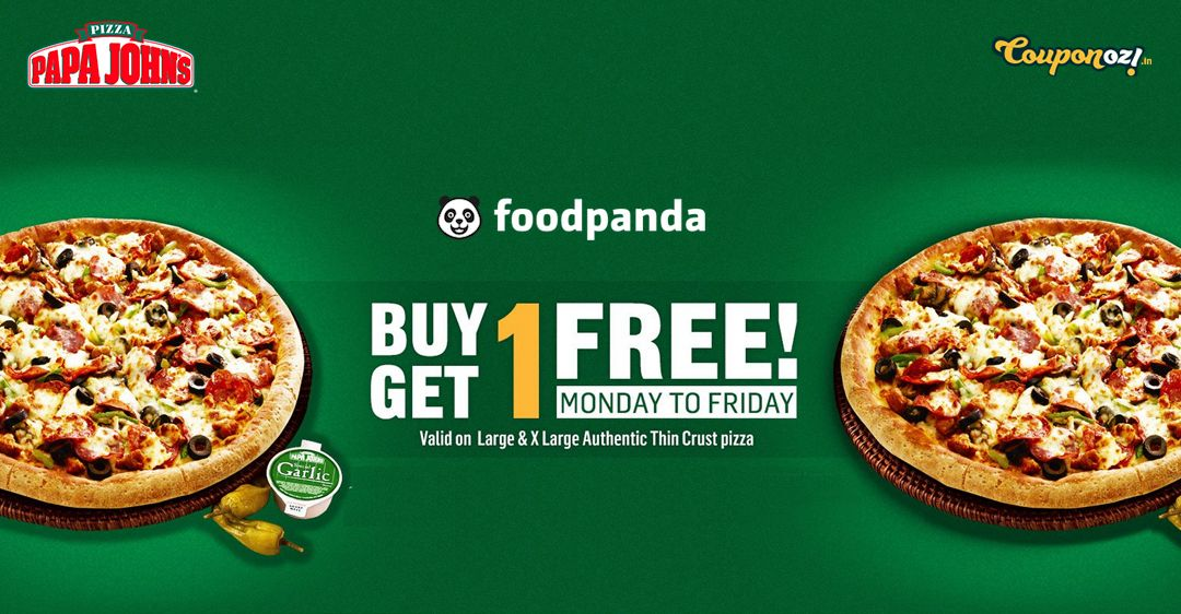 foodpanda monday to friday offer buy 1 get 1 pizza offer on papa john at