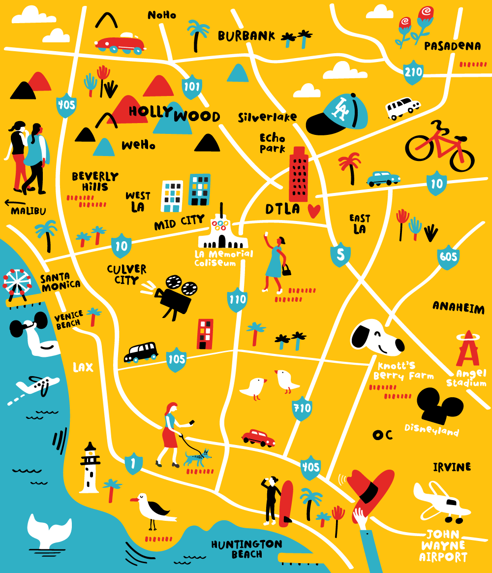 Illustrated map of Los Angeles by Nate Padavick