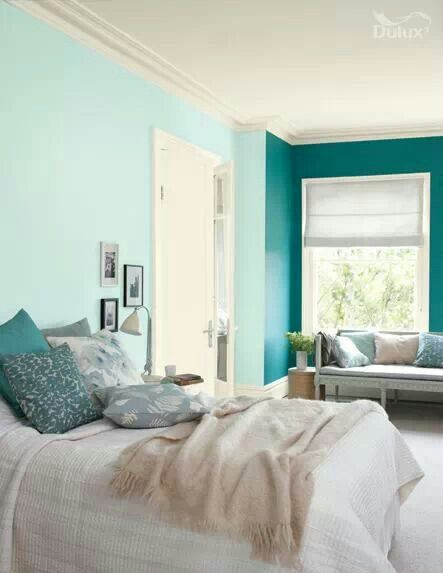 Two Tones Of Teal Paler Lighter Aqua Around The Room And