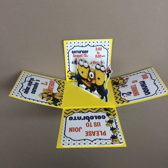 Minions Explosion Box Invitations Handmade And By