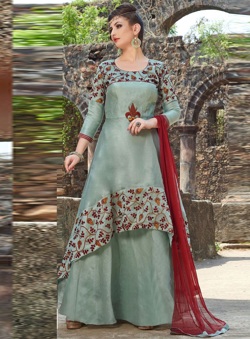 9f63c2b671bb0 Shop Sea Green Organza Readymade Long Gown 150973 online at best price from  vast collection of designer kurti at Indianclothstore.com.