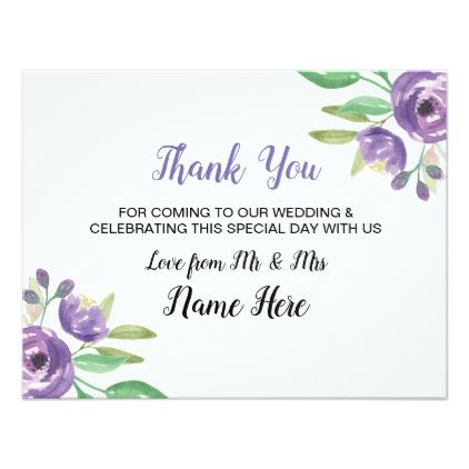 Thank You Wedding Card Purple Flower Floral