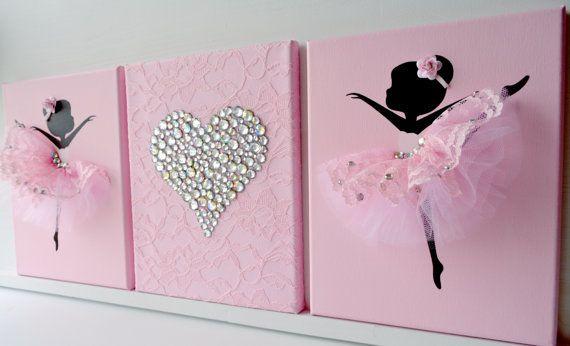 Ballerinas und herz kinderzimmer wandbilder in rosa und for Rosa deko kinderzimmer
