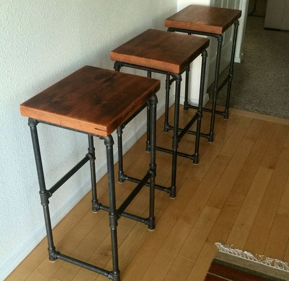Reclaimed Wood Amp Iron Pipe Bar Stools Rustic Wood Bar