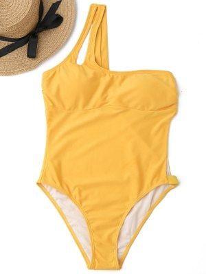 High Leg One Shoulder Cut Out Swimwear - Ginger L