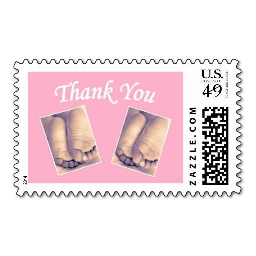 baby little feet twins thank you pink postage stamp make your own