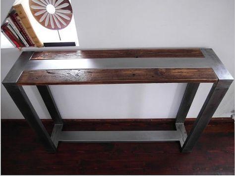 Rustic Handmade Reclaimed Wood & Steel Industrial Console Table