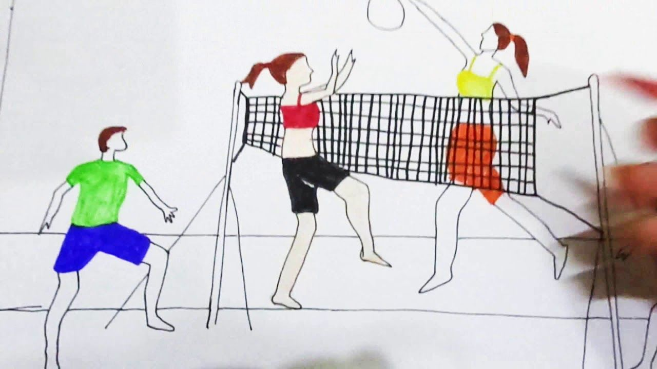 How To Draw Scenery Of Girls And Boys Playing Volleyball On The Beach Volleyball Drawing Boys Playing Drawings