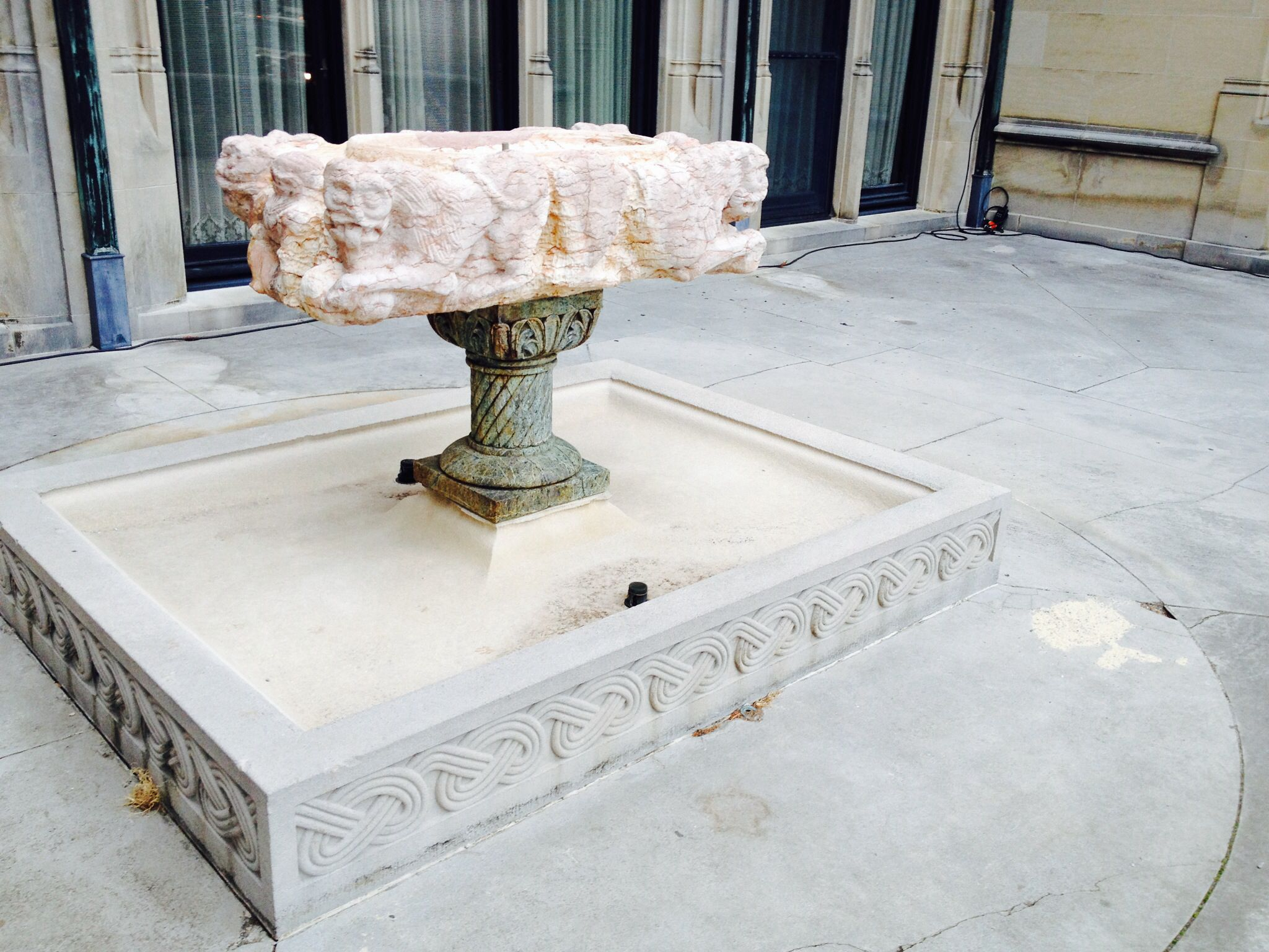 biltmore house pink marble fountain outside winter garden
