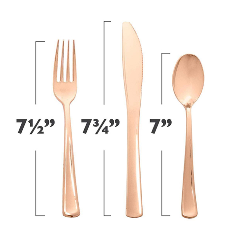 160 Piece Rose Gold Heavyweight Disposable Cutlery Set Plastic Silverware Flatware Includes 80 Plastic Silverware Rose Gold Cutlery Gold Plastic Silverware