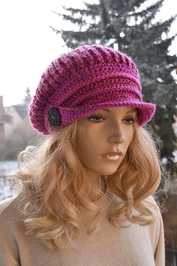 fuchsia Crocheted Newsboy Caps, crochet newsboy hat, newsboy beanie ...