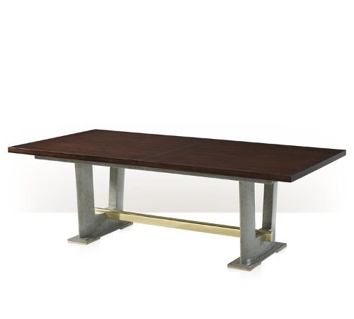 Dining Table, Mahogany Veneer, Brass, Sfumato Lacquered Wood, 1 Extension Leaf