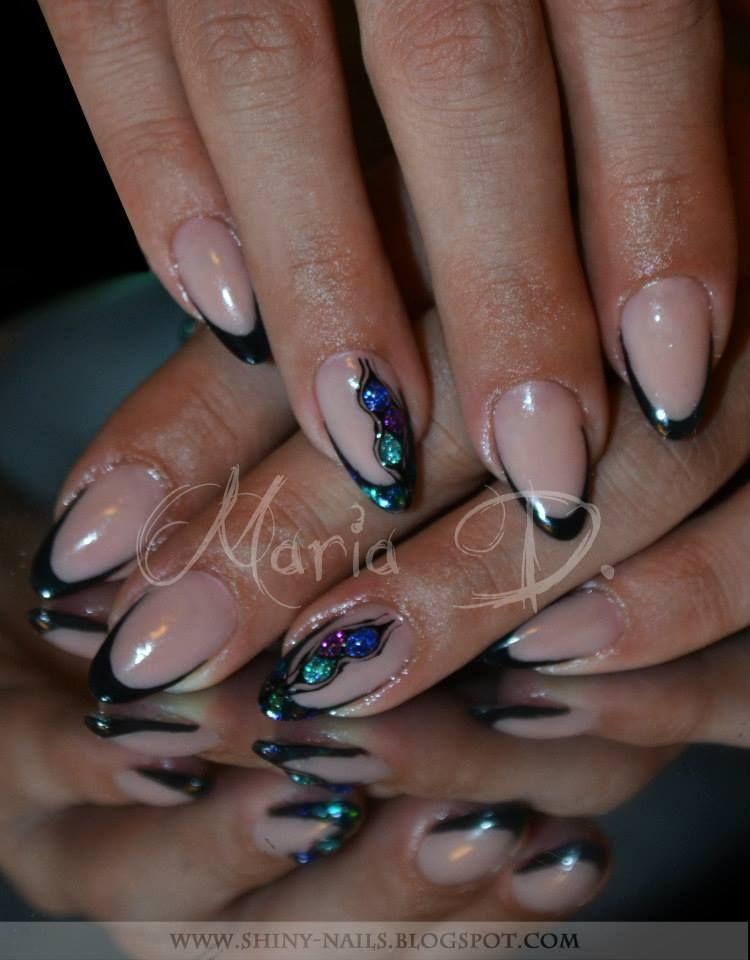 Glitter Tips with 3D Glitter Accents | Nail art, Nails ...