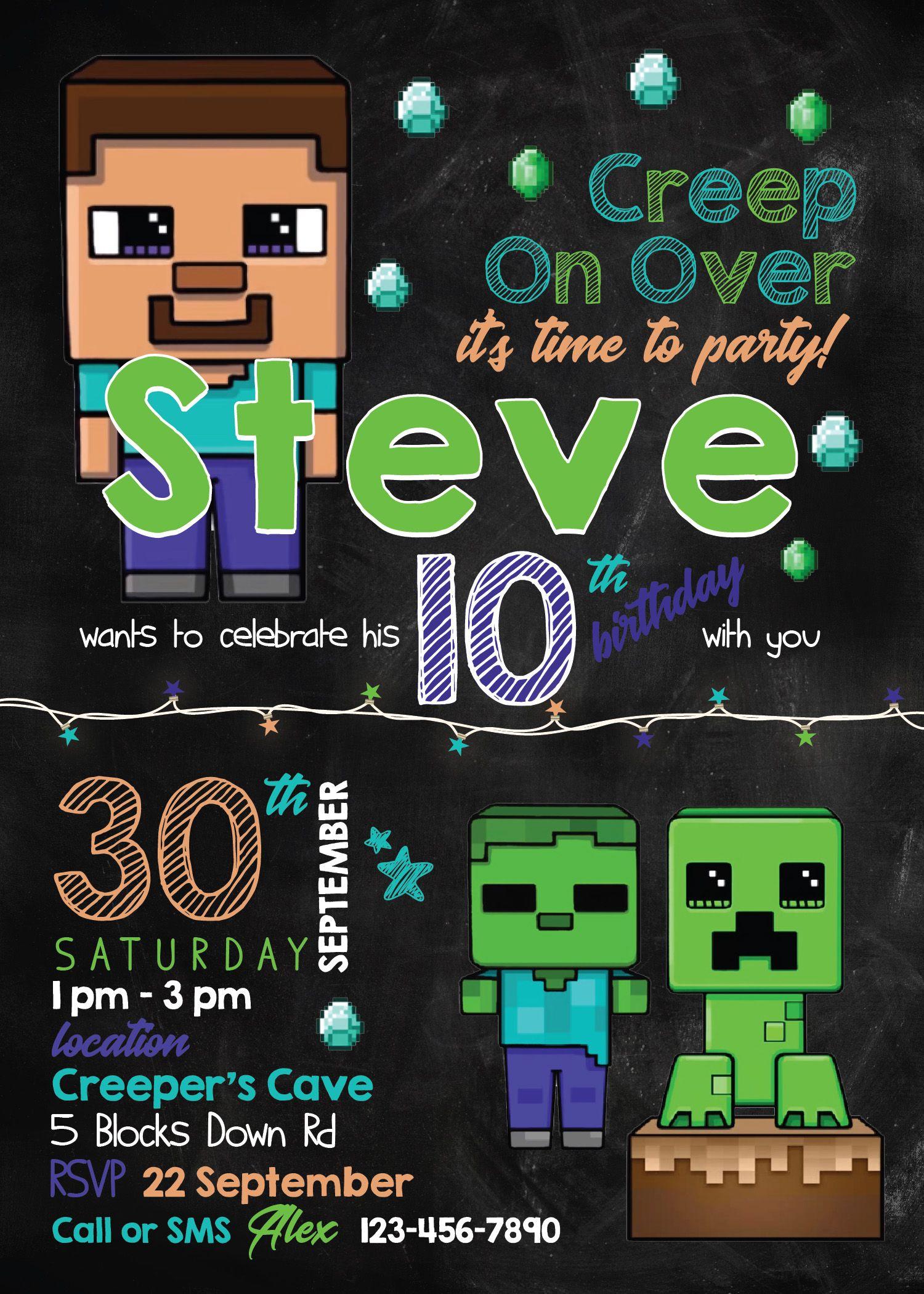 Minecraft Invitation Template  Minecraft Party Supplies