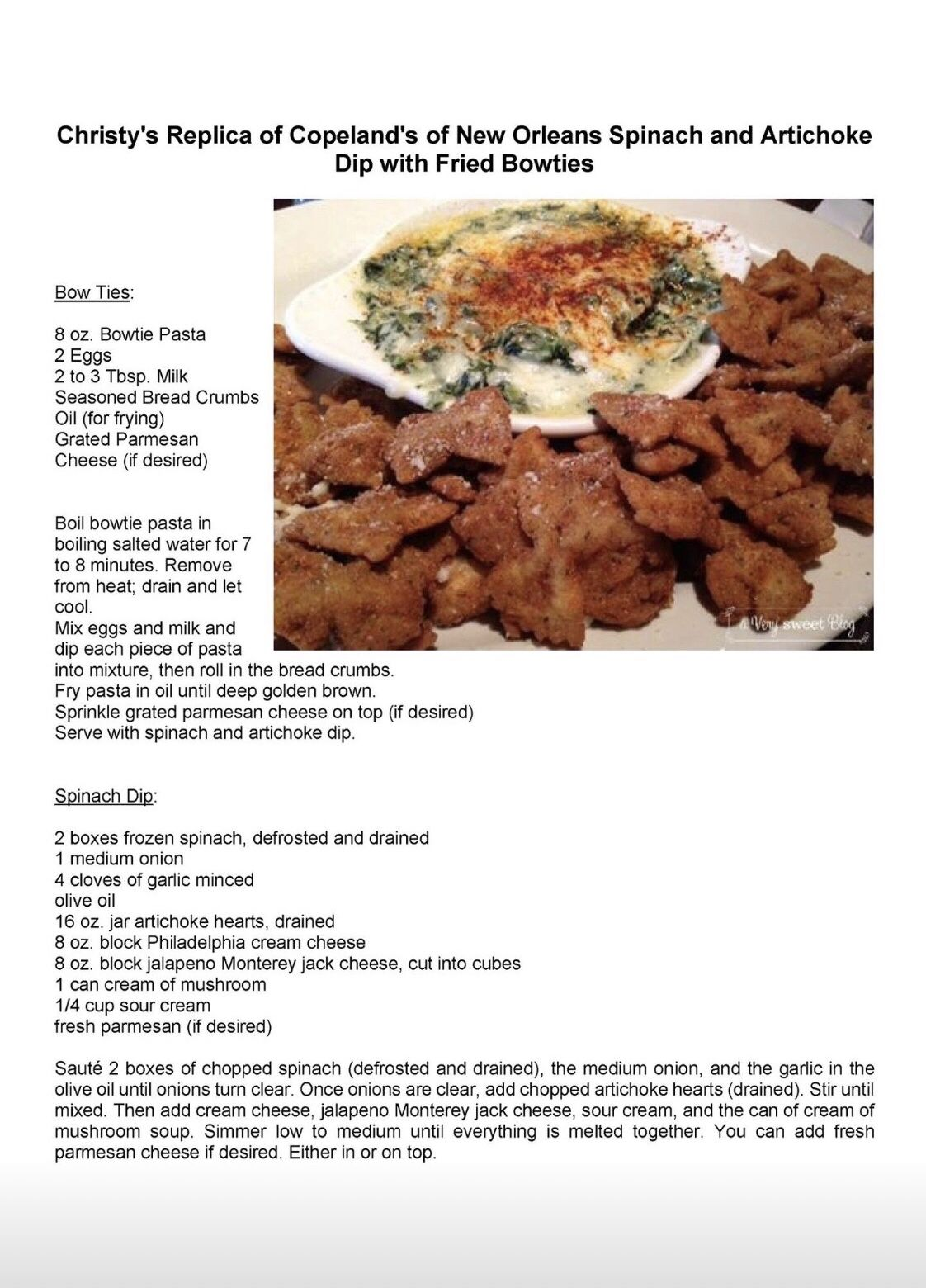 Copeland S Of New Orleans Spinach And Artichoke Dip With Fried Bowties Artichoke Dip Brunch Recipes Easy Brunch Recipes