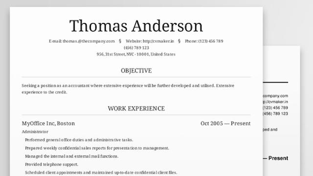 Resume Cv Maker Online