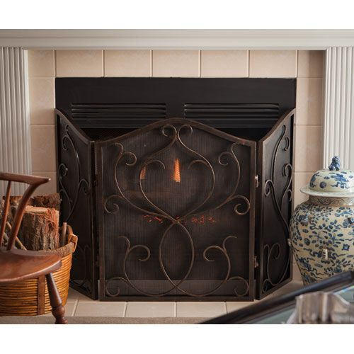 Dessau Home Bronze Flare Scroll Mesh Firescreen Me2276 Fireplace